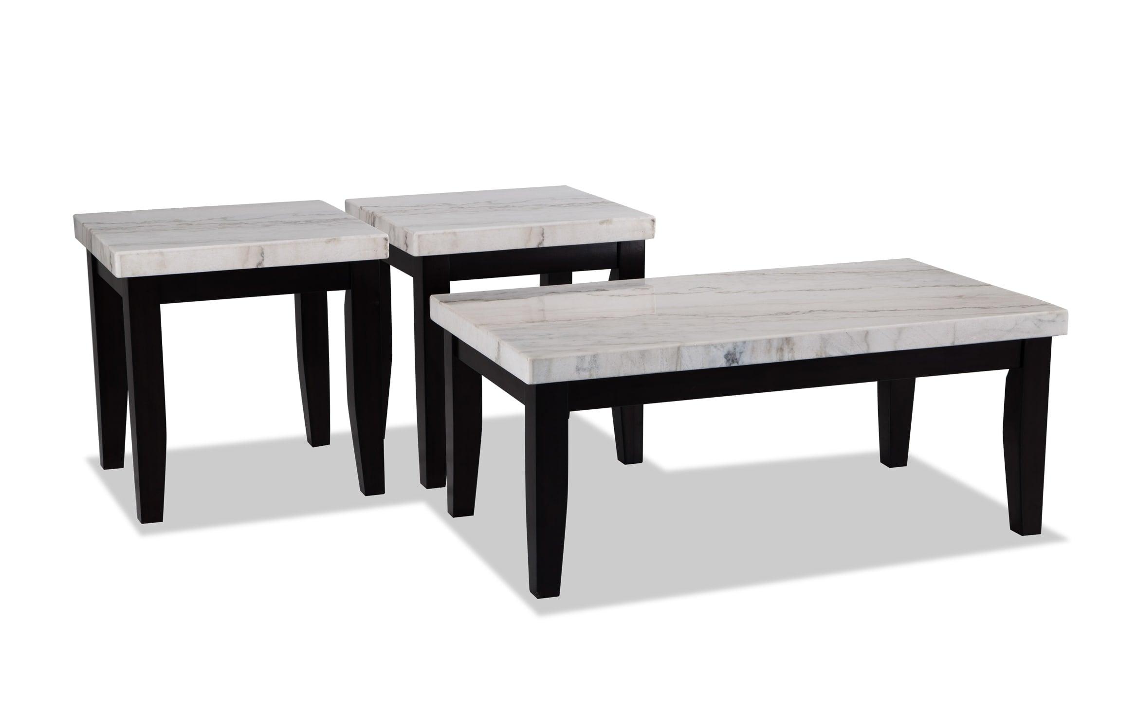 Montibello White Marble Coffee Table Set Bobs Com
