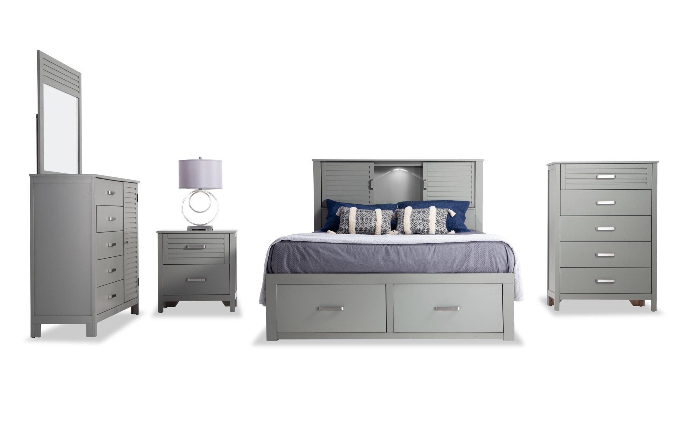 Dalton Queen Gray Storage Bedroom Set Bobs Com