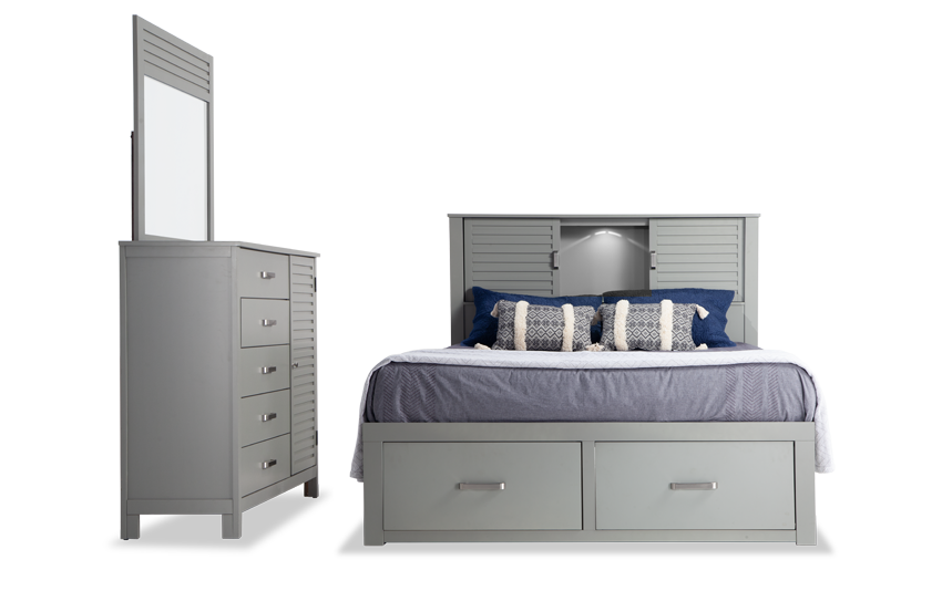 Dalton California King Gray Storage Bedroom Set