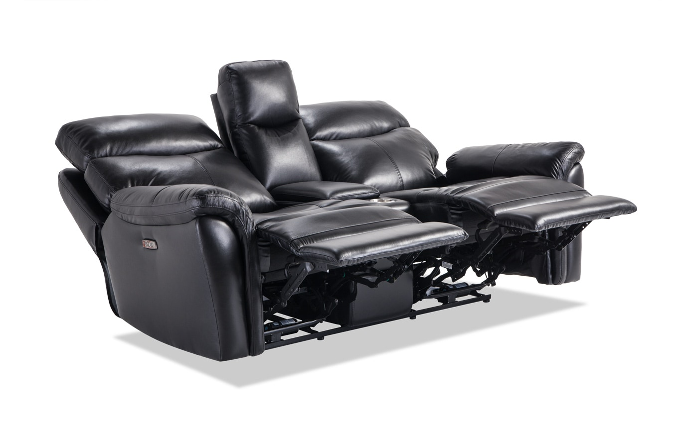 Dynamic Leather Power Reclining Console Loveseat
