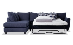 Capri Denim Right Arm Facing Full Bob-O-Pedic Sleeper Sectional