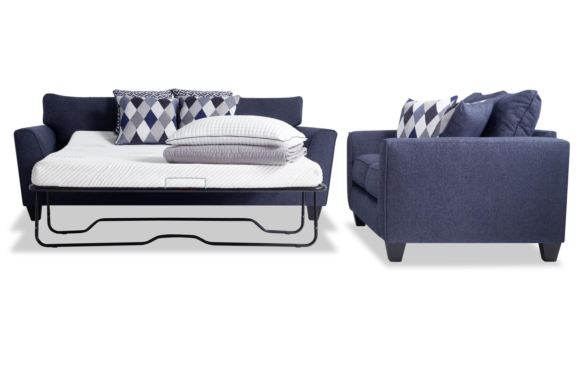 Picture of: Capri Denim Bob O Pedic Queen Sleeper Sofa Loveseat Bobs Com