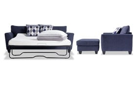 Capri Denim Bob-O-Pedic Sleeper, Chair & Ottoman