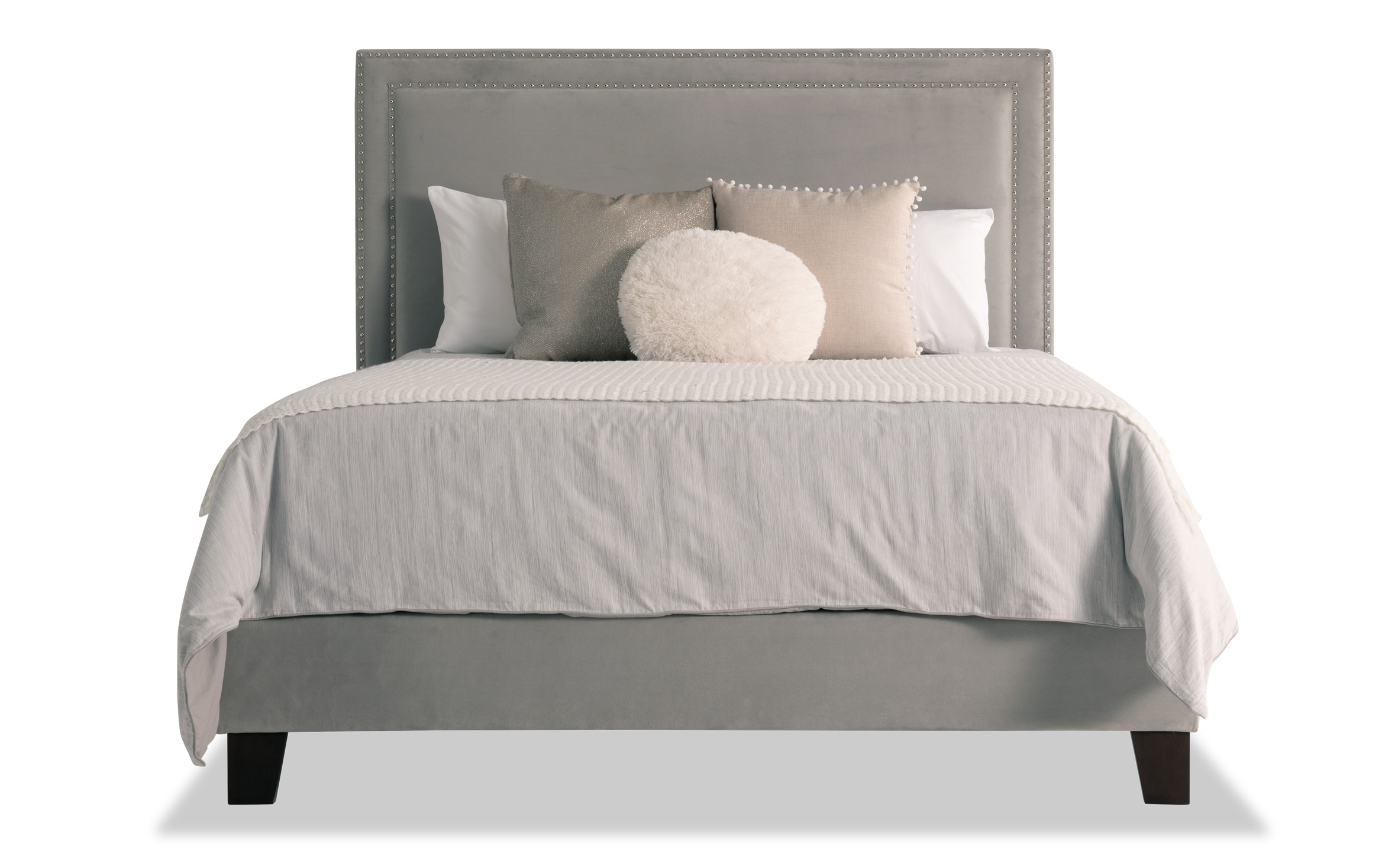 Tremont Queen Gray Upholstered Bed Bobs Com