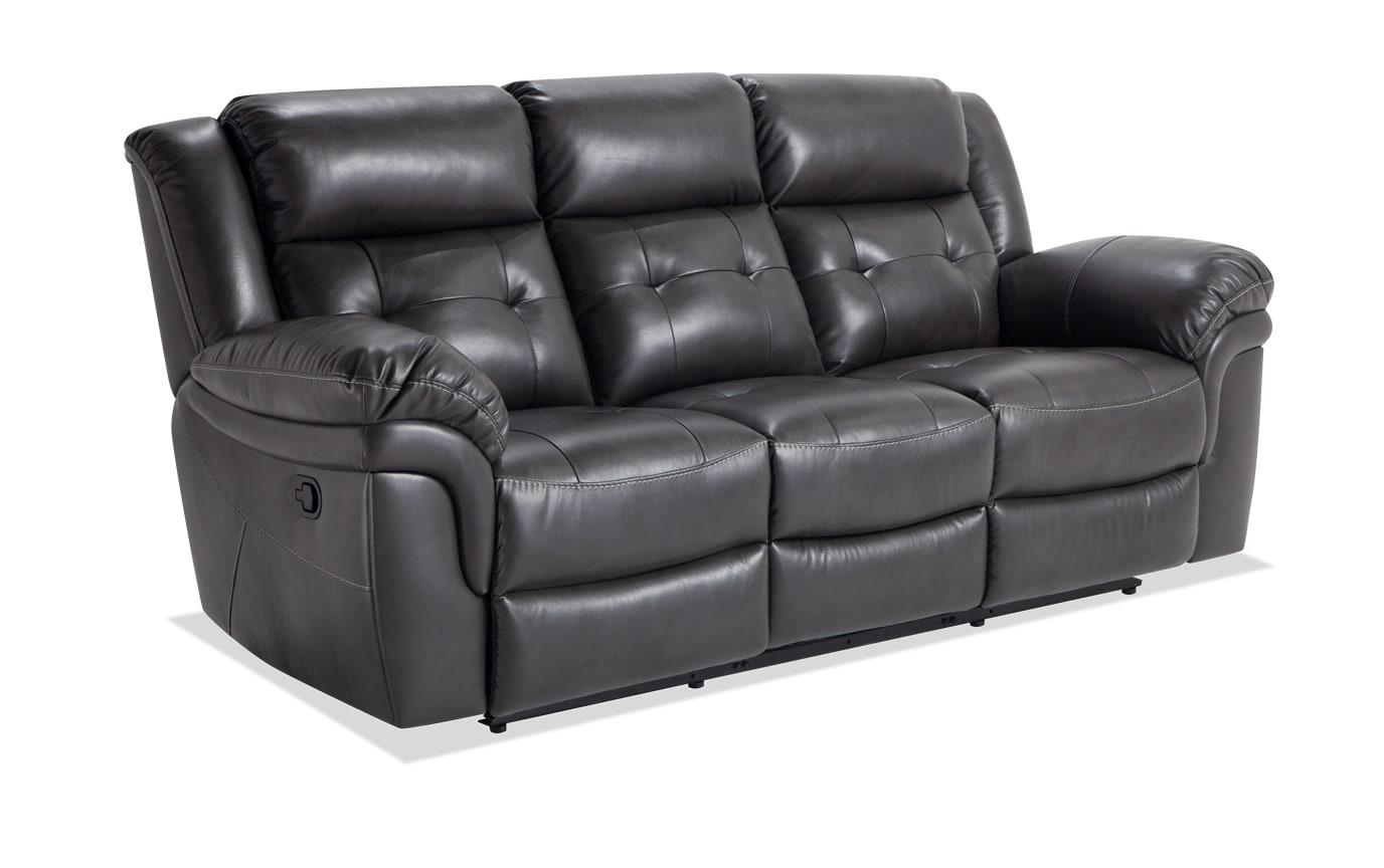 Navigator Gray Manual Reclining Sofa Bobs Com