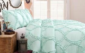 Oval Ruffle Twin Light Aqua 2 Piece Comforter Set