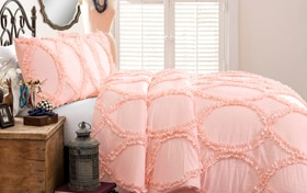 Oval Ruffle Twin Pink 2 Piece Comforter Set
