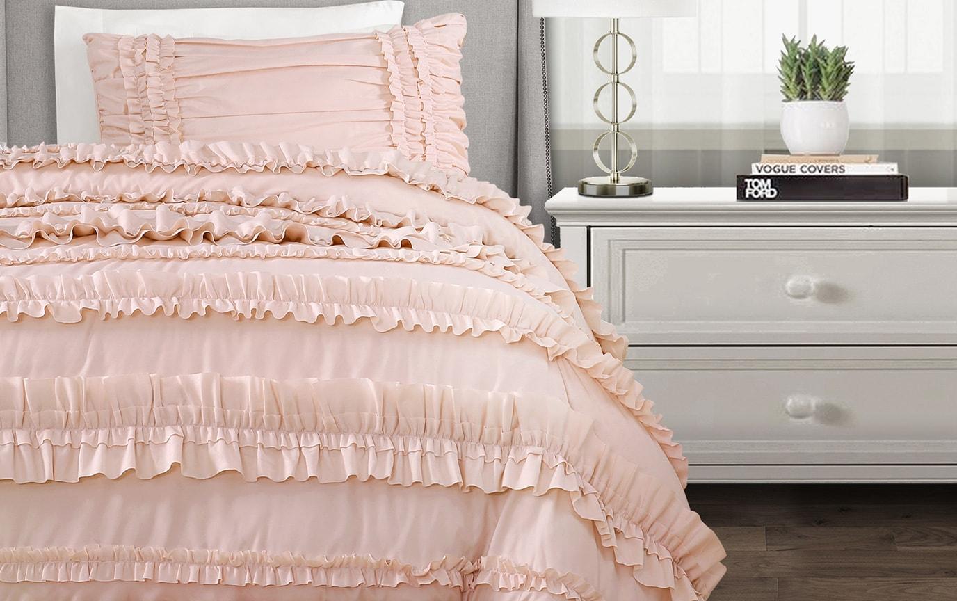 Striped Ruffle 3 Piece Twin XL Comforter Set