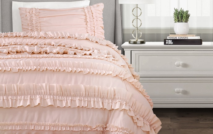 Striped Ruffle 3 Piece Twin XL Comforter Set
