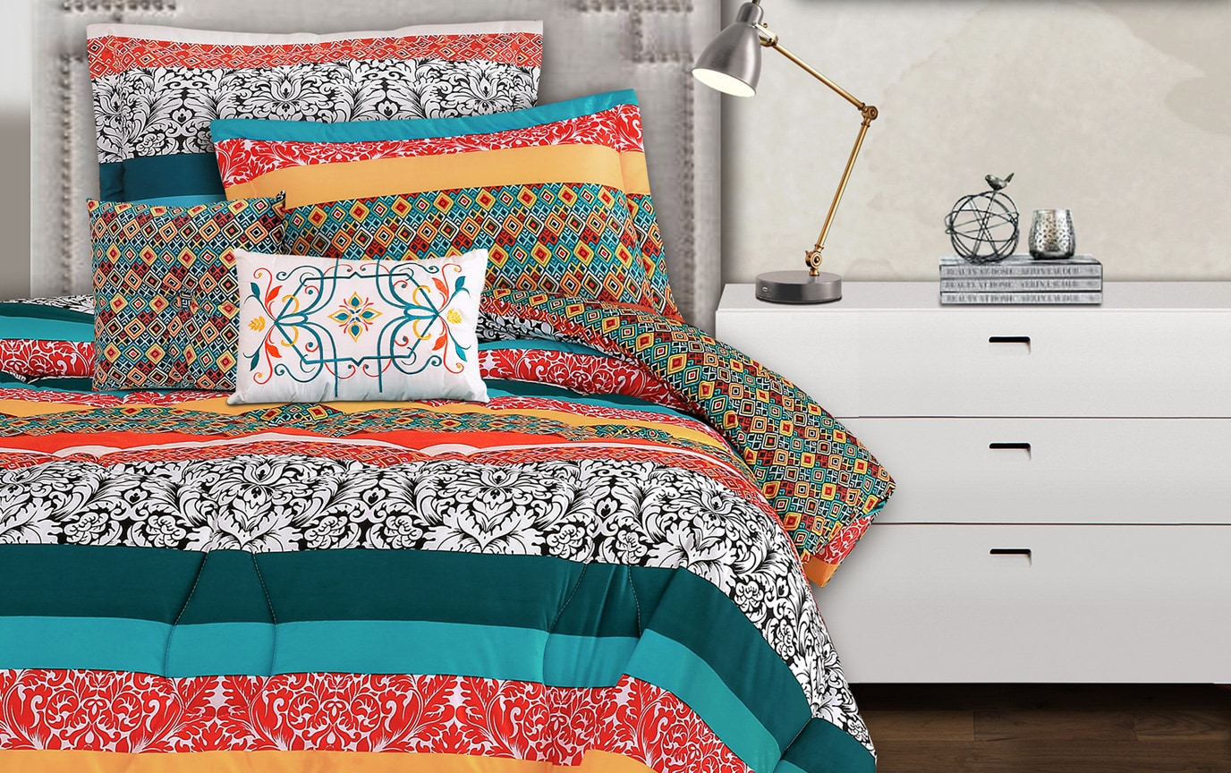 Bohemian Stripe 5 Piece Twin XL Comforter Set