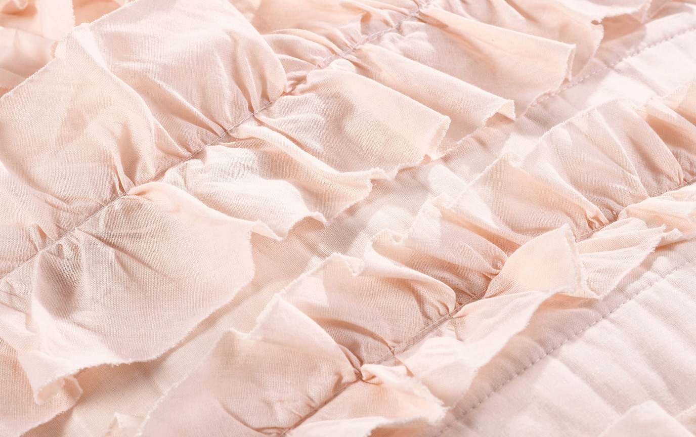Striped Ruffle 2 Piece Twin Quilt Set
