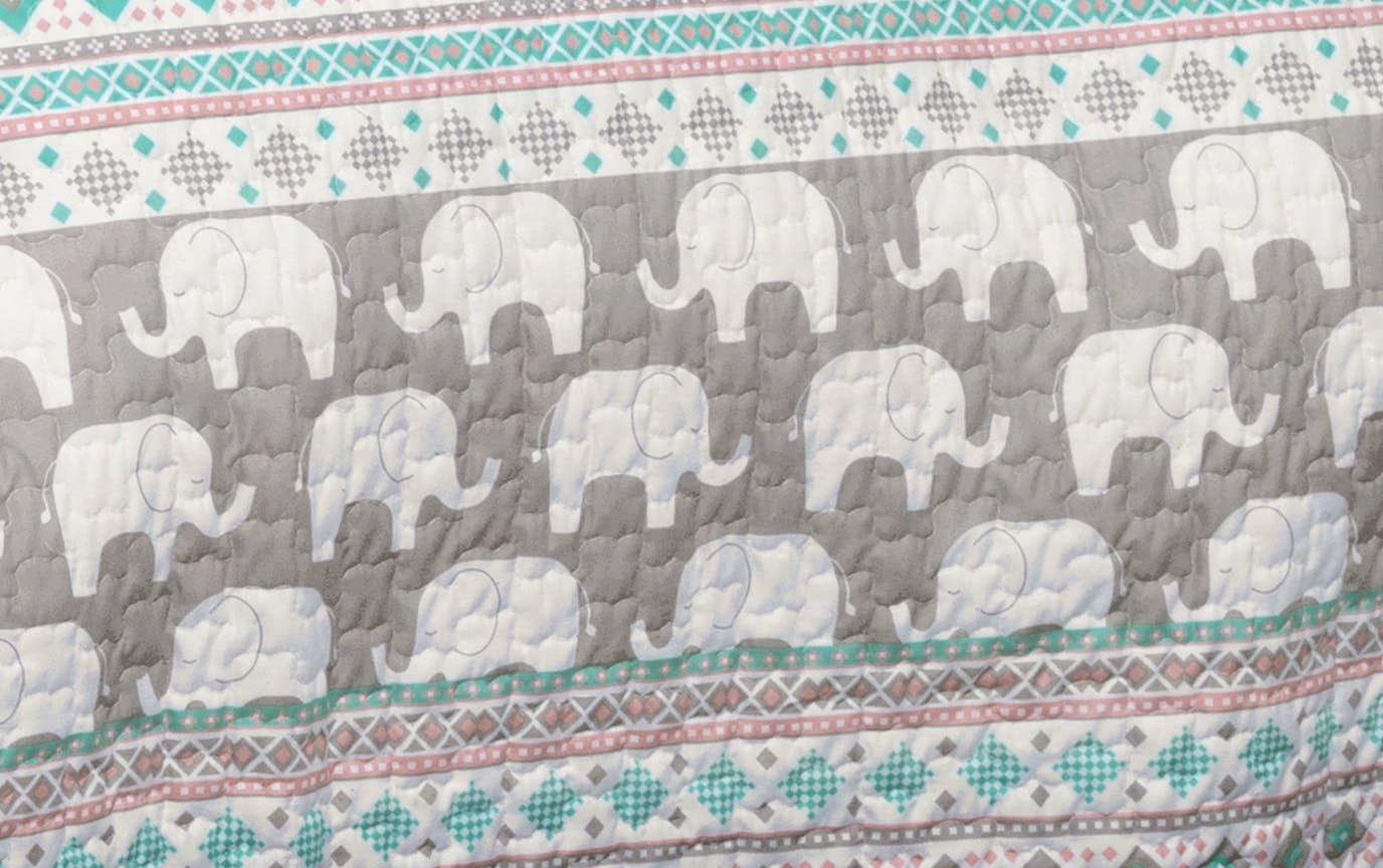 Boho Striped Elephant 4 Piece Twin Kids Quilt Set