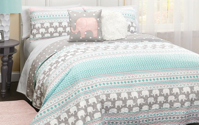Boho Striped Elephant 4 Piece Twin Kids Quilt Set