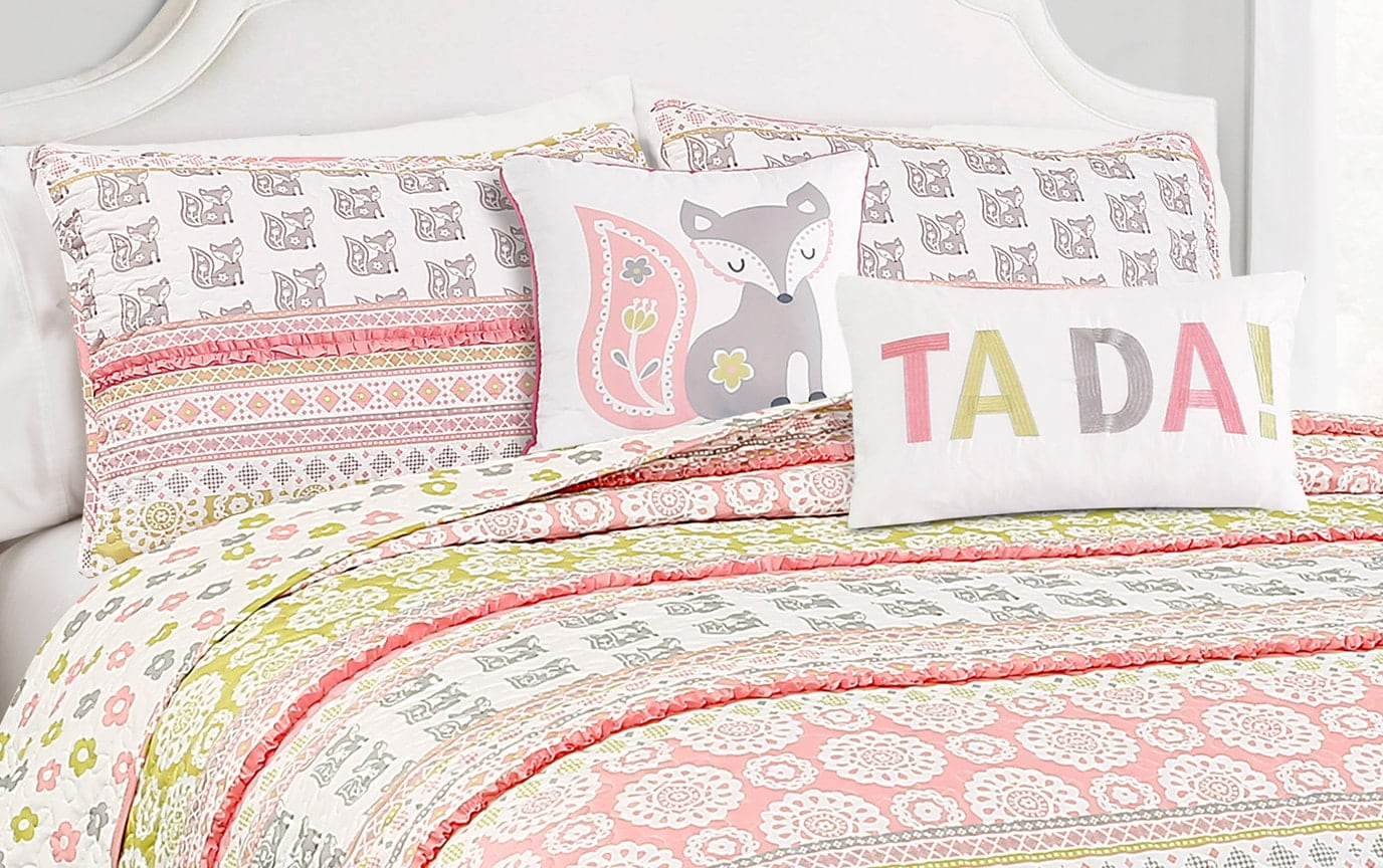Dainty Fox Stripe 4 Piece Twin Kids Quilt Set