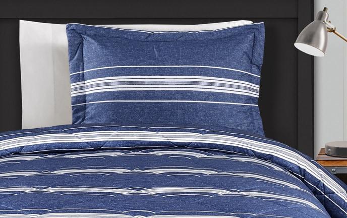 Blue Stripe 2 Piece Twin XL Comforter Set