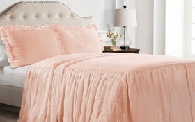 Danielle Ruffle Skirt Twin Blush 2 Piece Bedspread Set