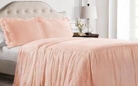 Danielle Ruffle Skirt Full Blush 3 Piece Bedspread Set