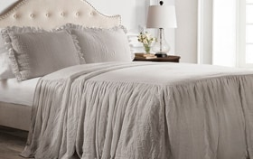 Danielle Ruffle Skirt Twin Gray 2 Piece Bedspread Set