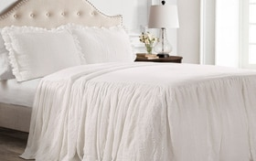 Danielle Ruffle Skirt Twin White 2 Piece Bedspread Set