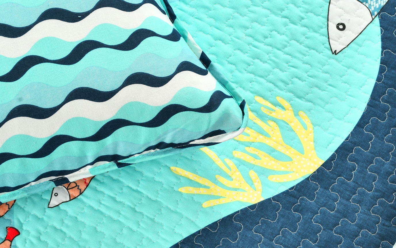Ocean Life 2 Piece Twin Quilt Set