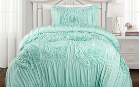 Jenna Ruffle Twin XL Aqua 2 Piece Comforter Set