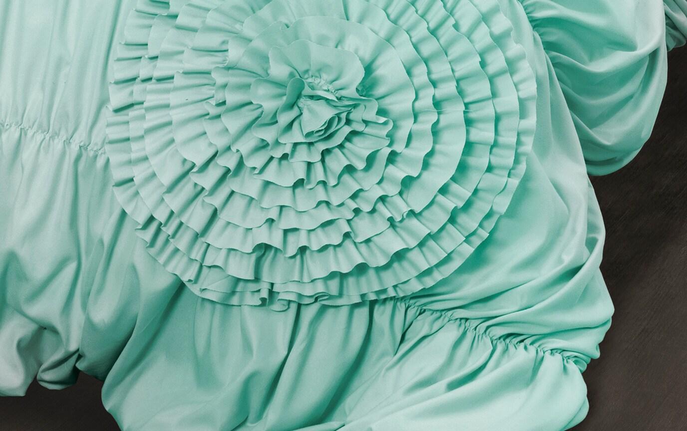 Jenna Ruffle Twin XL Aqua 2 Piece Comforter Set