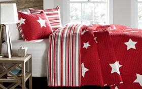 Bright Stars Twin Red 2 Piece Quilt Set
