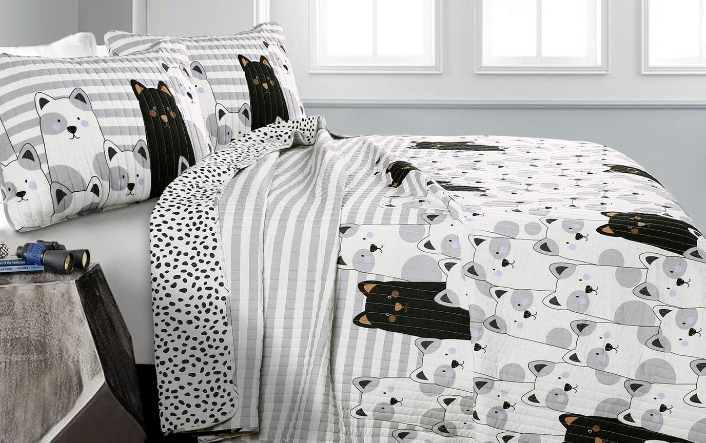 Cute Bears 2 Piece Twin Kids Quilt Set
