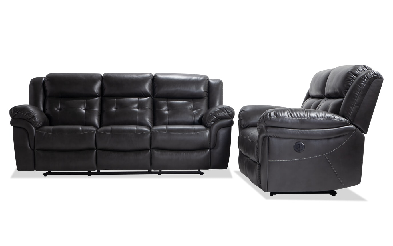 Navigator Gray Power Reclining Sofa Loveseat Bobs Com