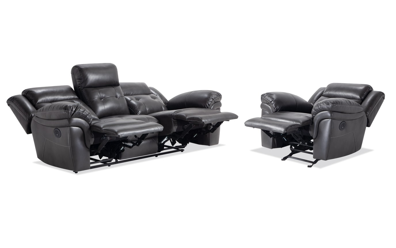 Navigator Gray Power Reclining Sofa & Recliner