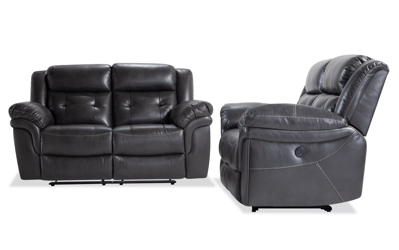 Navigator Gray Power Reclining Loveseat Set