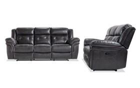 Navigator Gray Manual Reclining Sofa Set