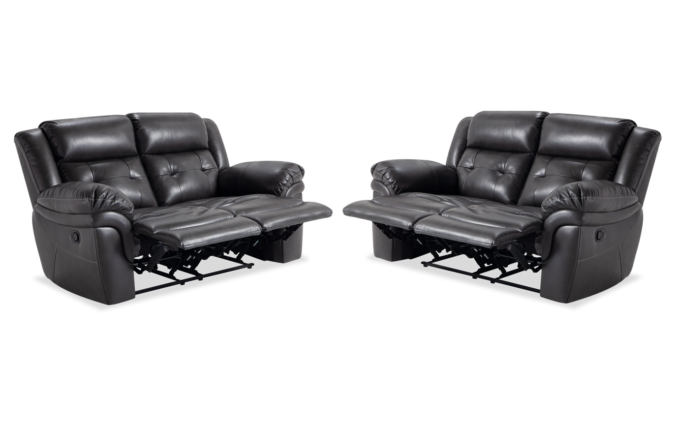 Navigator Gray Manual Reclining Loveseat Set