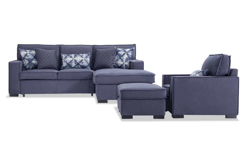 Playscape Denim Left Arm Facing Sectional with Chair & Ottoman