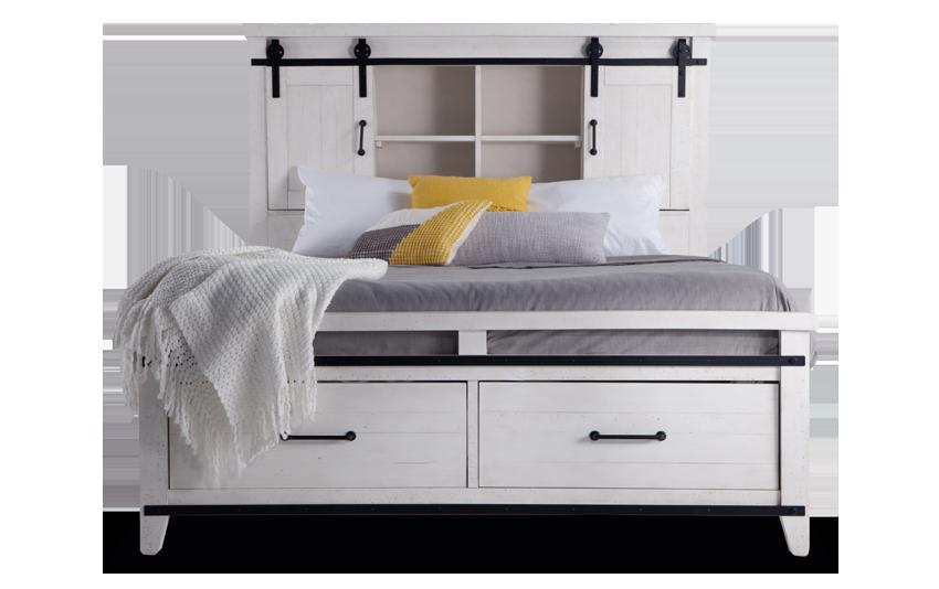 Montana Queen White Bookcase Storage Bed