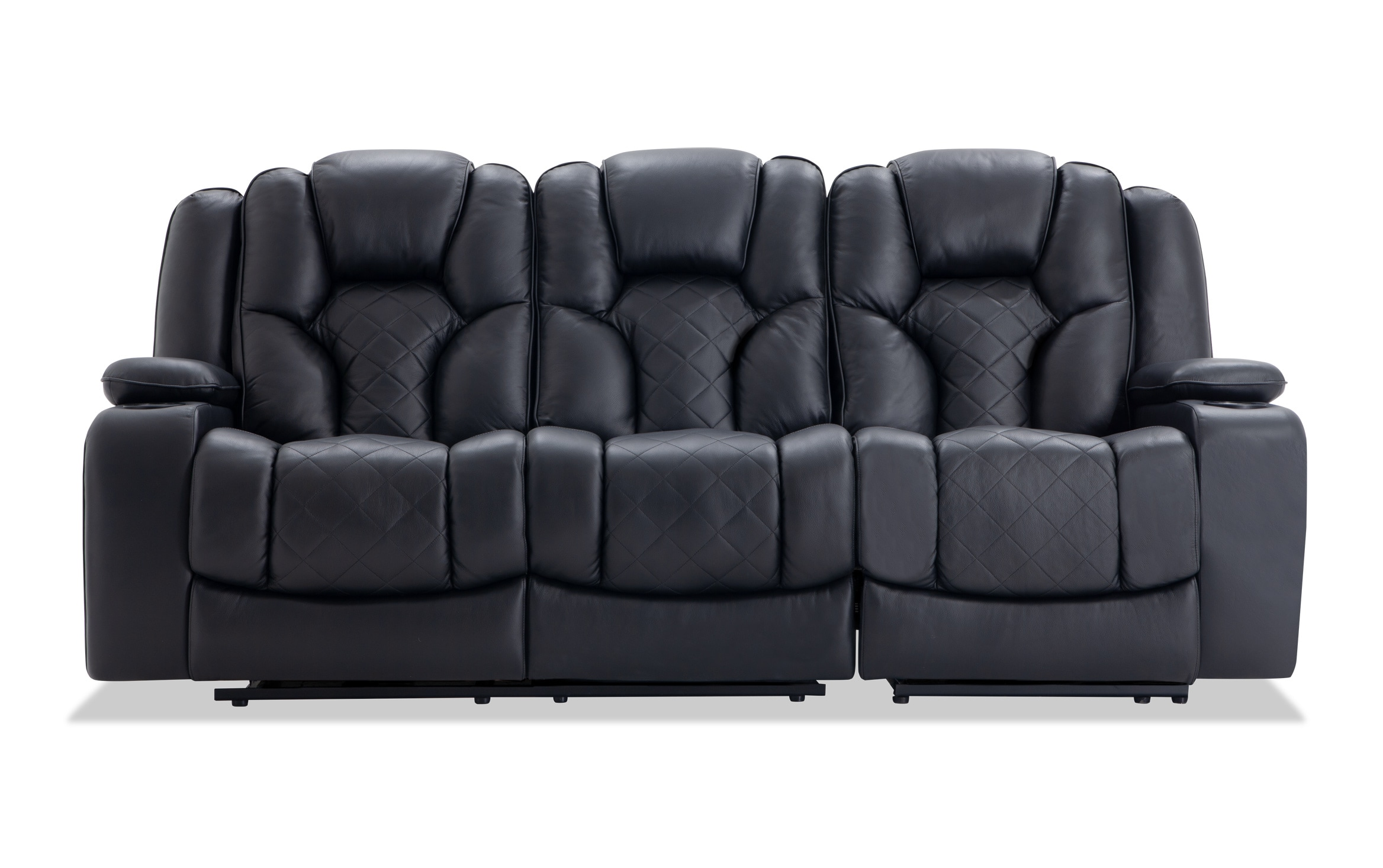 - Panther Black Leather Dual Power Reclining Sofa Bobs.com