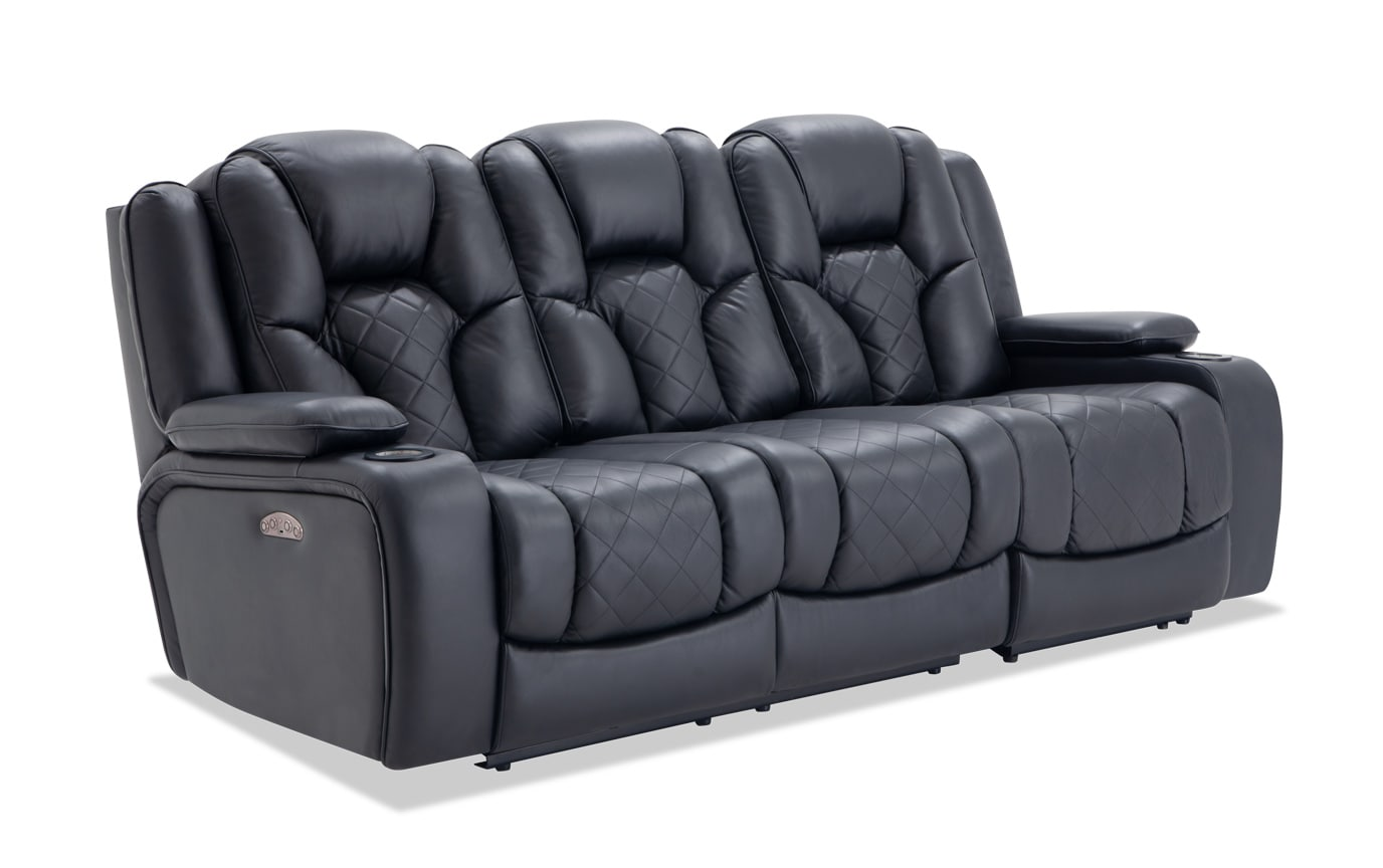 Panther Leather Dual Power Reclining Sofa Bobs Com