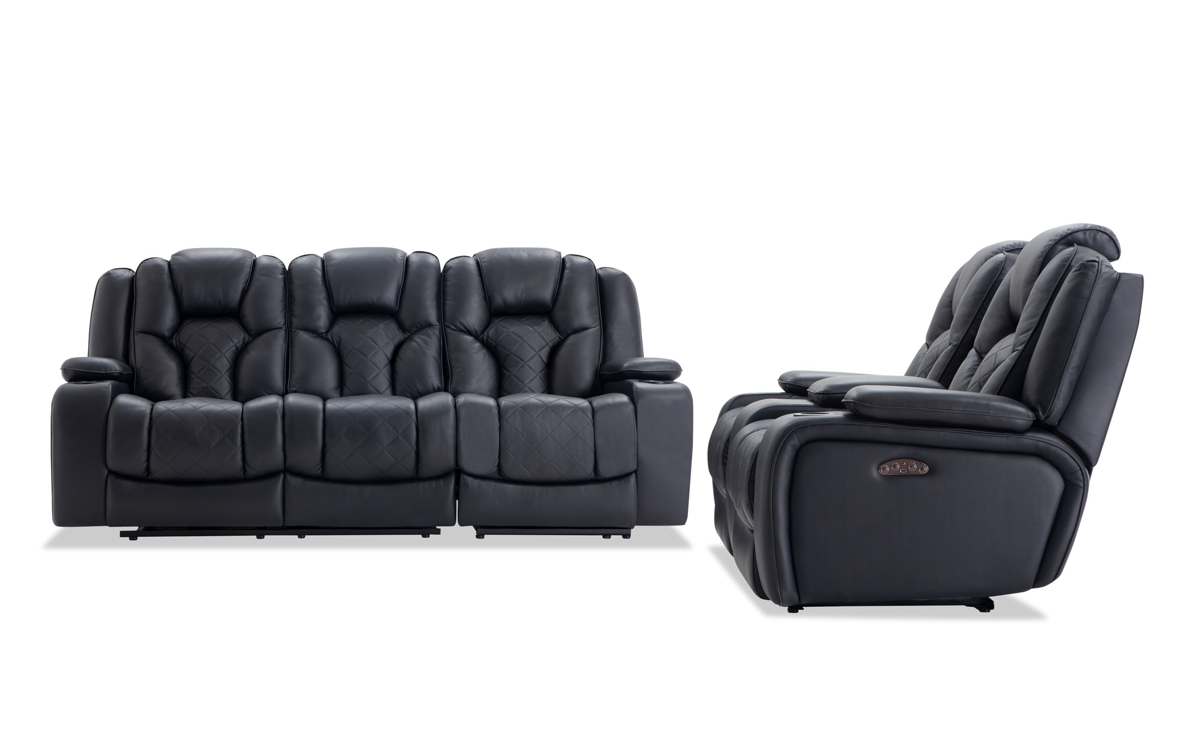 - Panther Black Leather Power Reclining Sofa & Console Loveseat