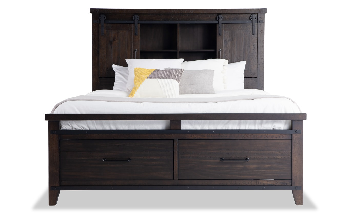 Montana Queen Brown Bookcase Storage Bed Bobs Com