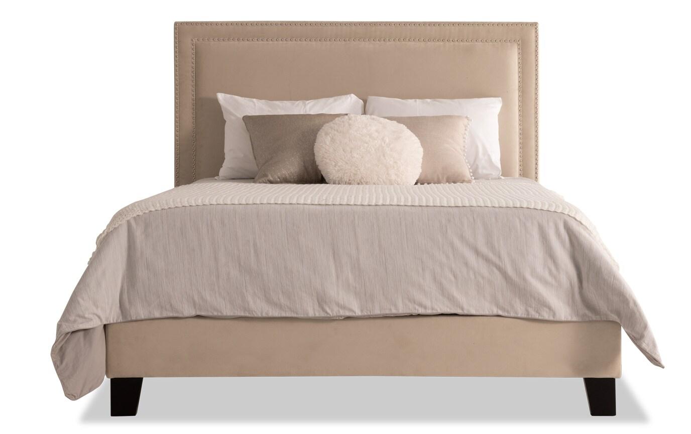Tremont Queen Beige Upholstered Bed
