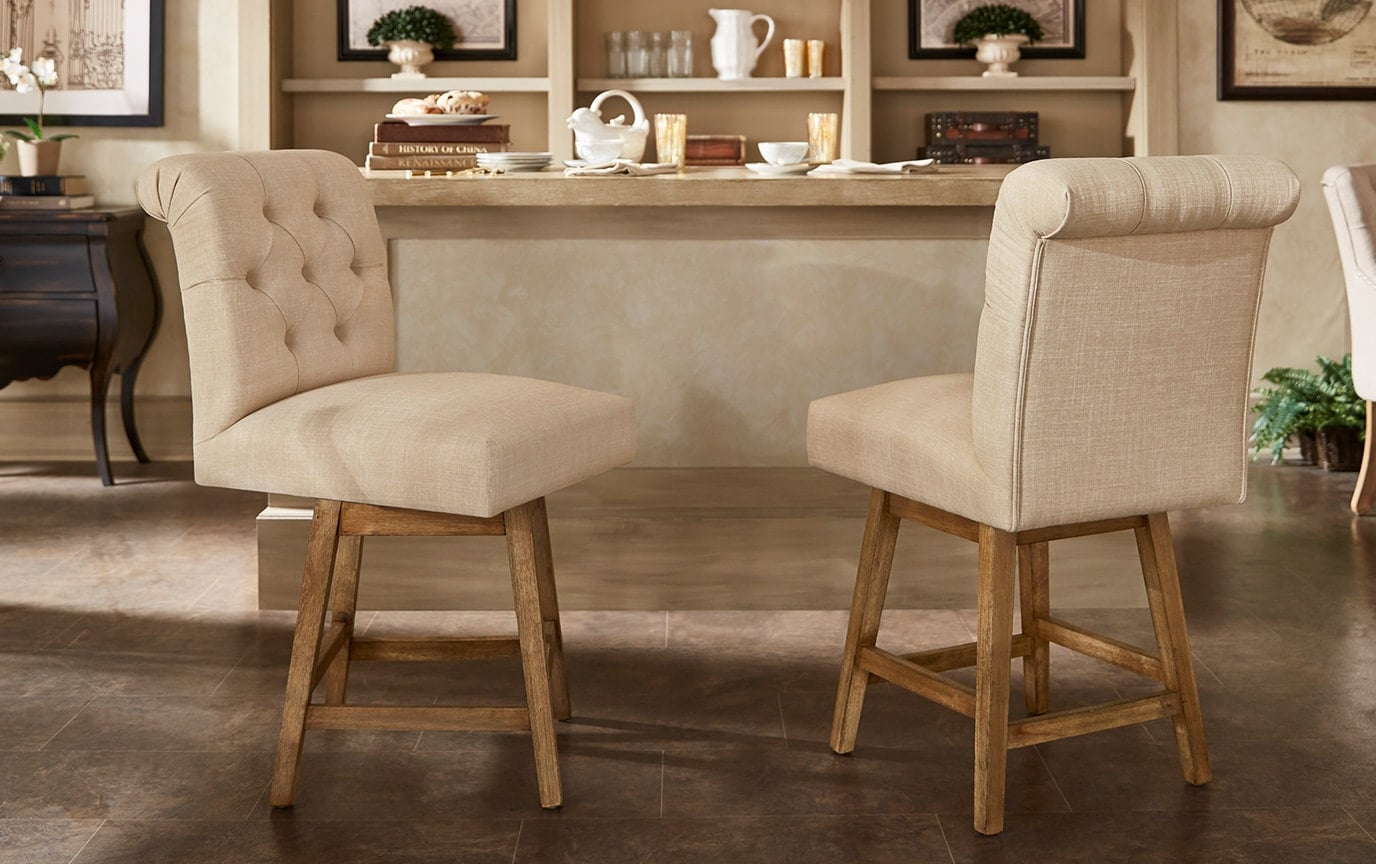 Set of 2 Kara Cream Swivel Counter Stools