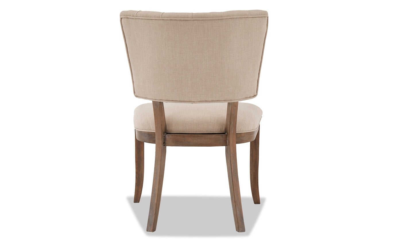 Set of 2 Verna Brown & Cream Tufted Dining Chairs