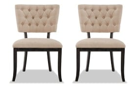 Set of 2 Verna Black & Cream Tufted Dining Chairs