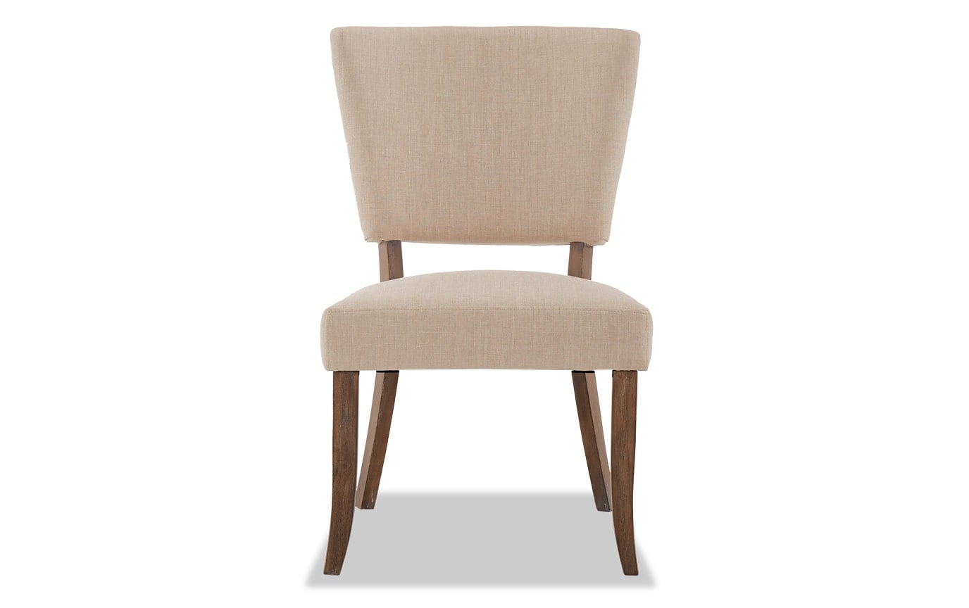 Set of 2 Verna Brown & Cream Upholstered Dining Chairs