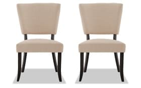 Set of 2 Verna Black & Cream Upholstered Dining Chairs