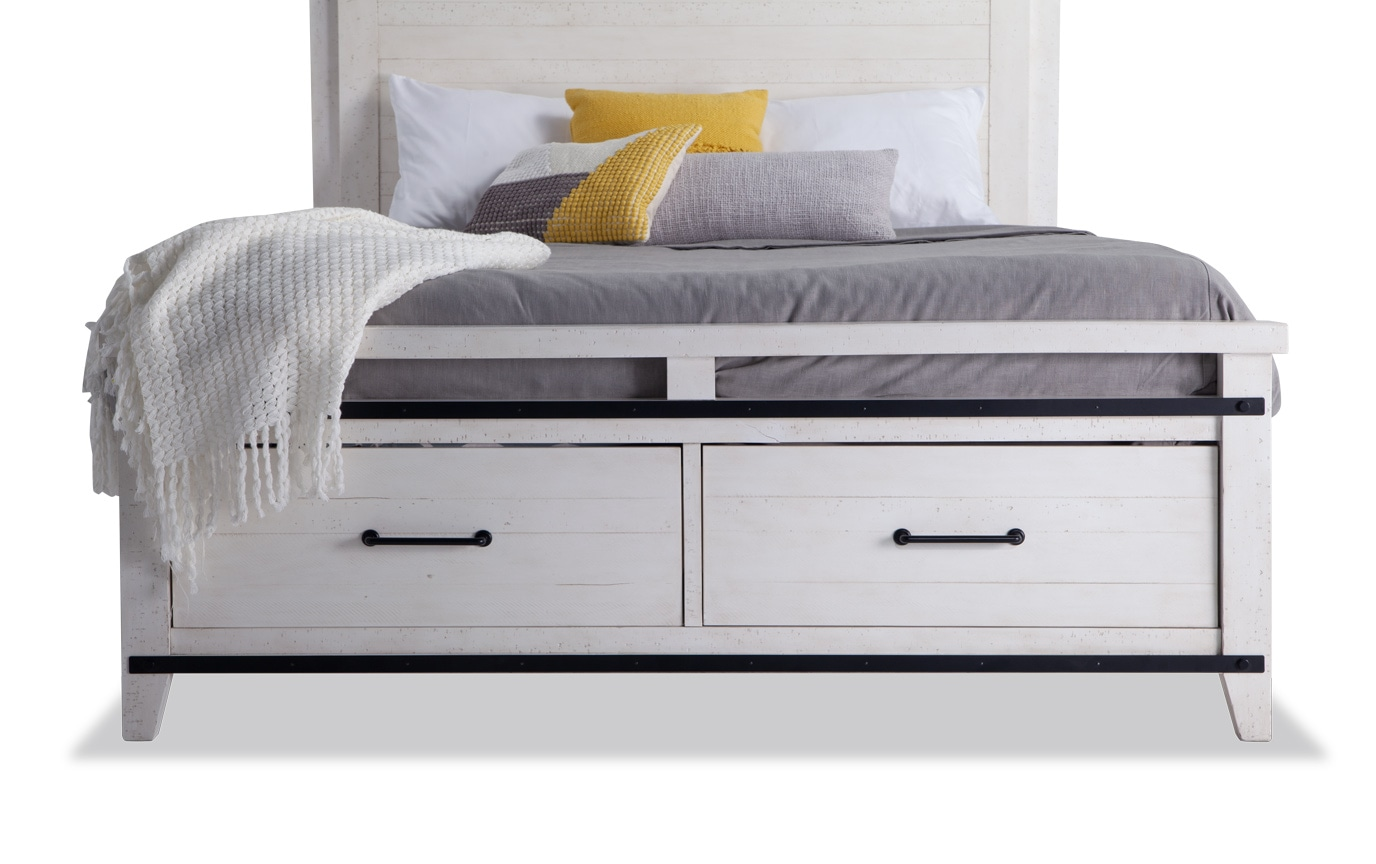 Montana King White Storage Bed