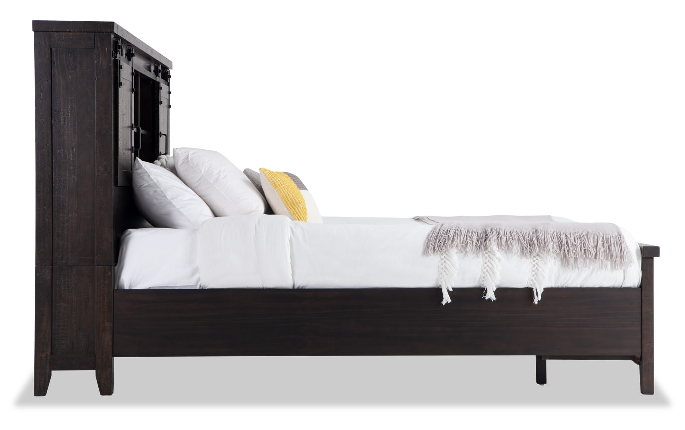 Montana King Brown Bookcase Storage Bed