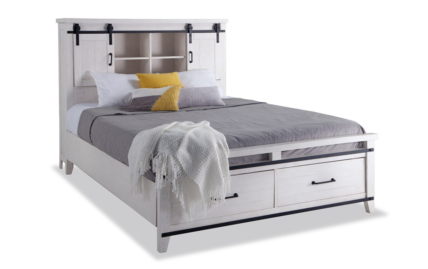 Montana Queen White Bookcase Storage Bedroom Set Bobs Com