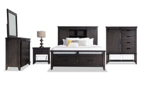 Montana Queen Brown Bookcase Storage Bedroom Set