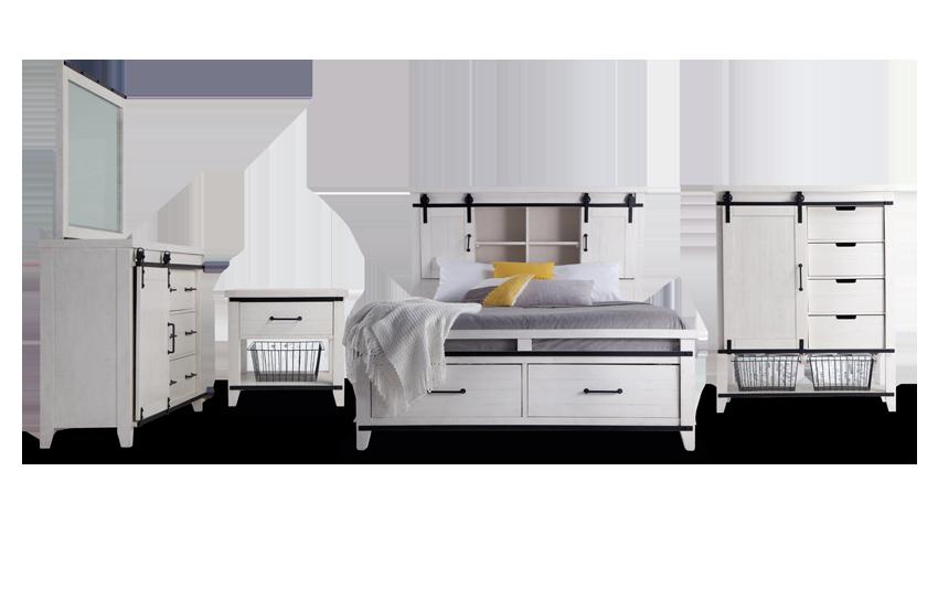 Montana Queen White Bookcase Storage Bedroom Set